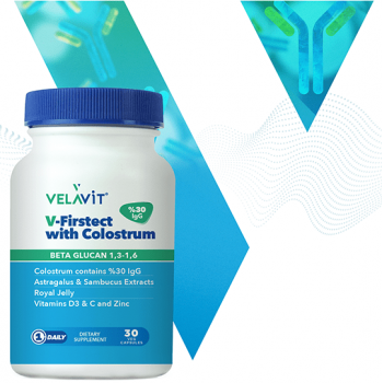 VELAVİT V-FİRSTECT WİTH COLOSTRUM 30 KAPSÜL-beta glukan,çinko,propolis,kara mürver
